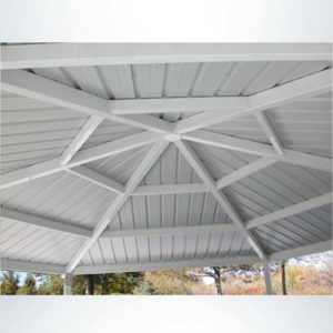 Gazebo style park shelter inside of roof.