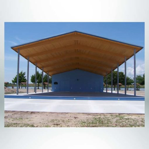 Model #RCPLWBSG305054-03. 30'x50'x54' laminated wood gable band shell.