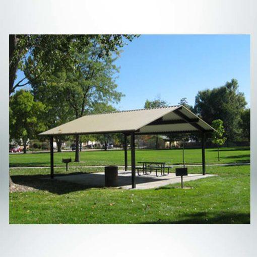 Model #RCPASG2424-04. 24'x24' all steel gable park shelter.
