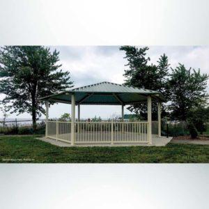 Model #RCPASHEX28-04. 28' radius all steel gazebo style park shelter.