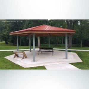Model #RCPLWHEX24-04. 24' diameter laminated wood hexagon park shelter.
