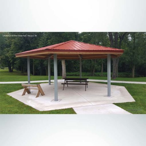 Model #RCPLWHEX24-04. 24' diameter laminated wood hexagon park shelter.