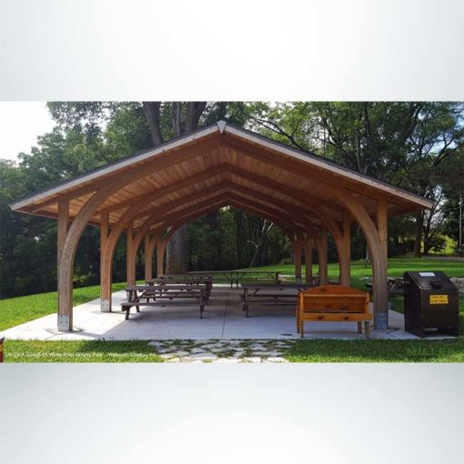 Model #RCPLWOKAG2436. 24'x36' laminated wood open knee arch gable shelter with optional metal roofing.