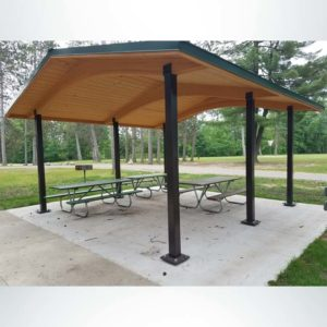 Model #RCPLWG202003. 20'x20' laminated wood gable shelter with optional steel columns and metal roofing.