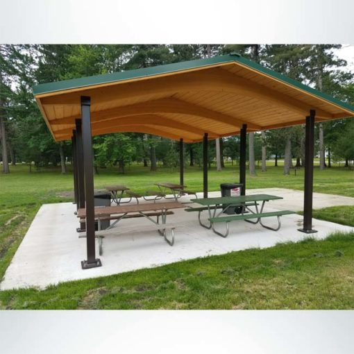 Model #RCPLWG202803. 20'x28' laminated wood gable shelter with optional steel columns and metal roofing.