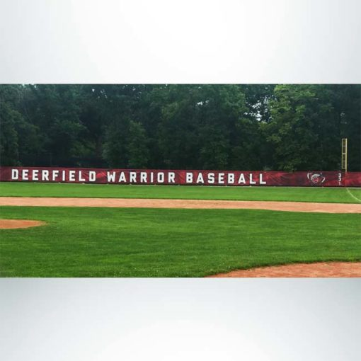 Windscreen with custom digital print for outfield baseball fence.