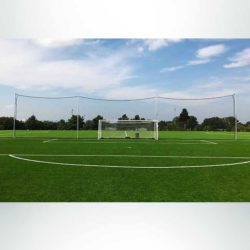 Model #KGBACKAL43P42090. 20' x 90' premium backstop nets for soccer field.
