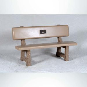 Model #PB58. Memorial Park Bench with Bronze Plaque. Sand and Tan with Etch Legs.