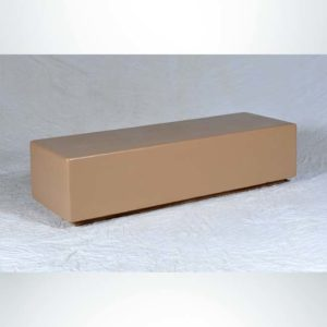 Model #PRSB72. Outdoor concrete bench in sand tan smooth for city streets, businesses and parks.