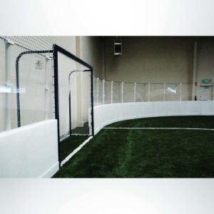 Custom M-Series soccer goal for indoor soccer field with Pro Wall.
