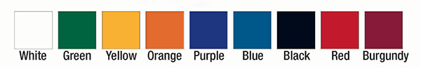 Color options for JWI bleachers. White, green, yellow, orange, purple, blue, black, red, burgundy.