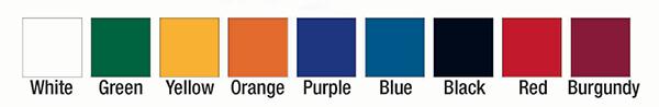 Color options for JWI bleachers. White, green, yellow, orange, purple, blue, black, red, burgundy.