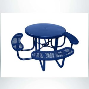 Model #PPS955S01000. Champion Smooth Surface Round Picnic Table. 48in. Diameter, Blue, Expanded Metal Seats, Free Standing.