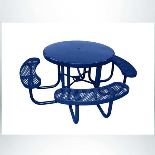 """Model #PPS955S01000. Champion smooth surface round picnic table. 48"""" diameter, blue, expanded metal seats, free standing."""
