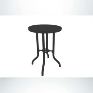 Model #PPS908B81O99C. Bar Height Outdoor Patio Table. 30 Inch Diameter, Black, Perforated.