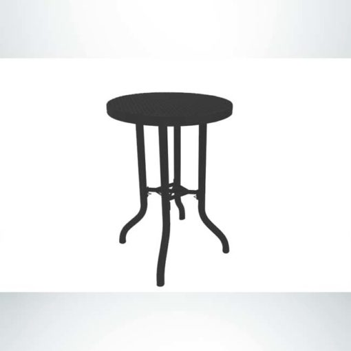 Model #PPS908B81O99C. Bar height outdoor patio table. 30 inch diameter, black, perforated steel.