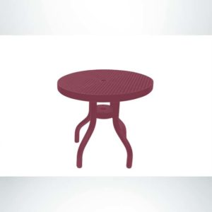 Model #PPS908D81O00C. Outdoor Patio Table. 30 Inch Diameter, Burgundy, Perforated.