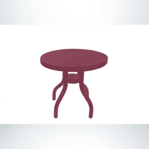 Model #PPS908D81O00C. Outdoor patio table. 30 inch diameter, burgundy, perforated steel.