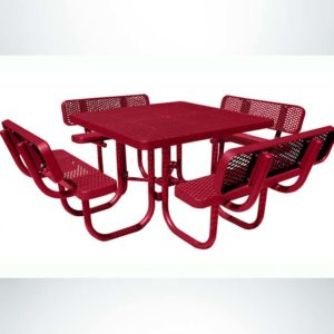 Model # PPS922101O11C. Champion Square Four Seat Picnic Table. 4 Foot, Red, Expanded Metal, Free Standing.