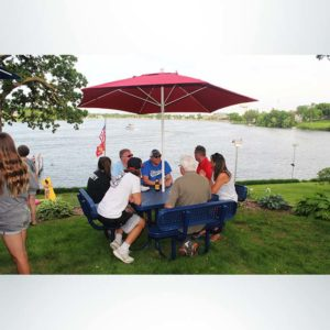Champion Square Four Seat Picnic Table. 4 Foot, Blue, Expanded Metal, Free Standing. Red Market Umbrella.