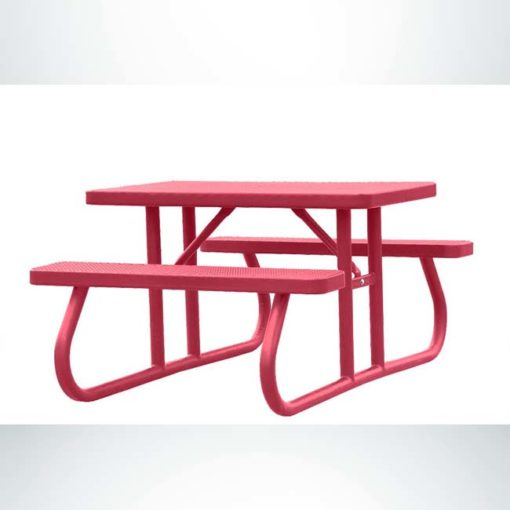 Model #PPS924101O11C. Champion picnic table. 4 foot, red, expanded metal, free standing.