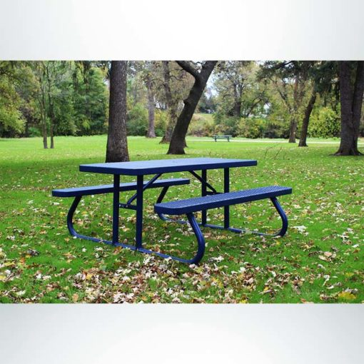 Model #PPS9243012348. Champion picnic table. 6 foot, blue, expanded metal, free standing.