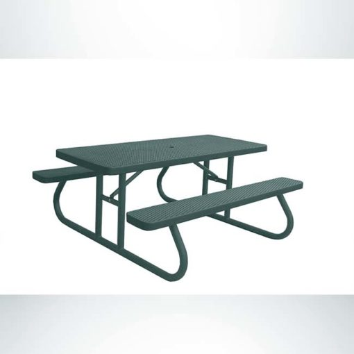 Model #PPS924301O66C. Champion picnic table. 6 foot, evergreen, expanded metal, free standing.