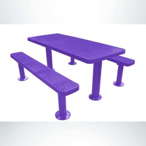 Model #PPS924305OPPC. Champion picnic table. 6 foot, purple, expanded metal, multi pedestal, surface mount.