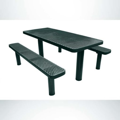 Model #PPS924306O66C. Champion picnic table. 6 foot, evergreen, expanded metal, multi pedestal, direct bury.