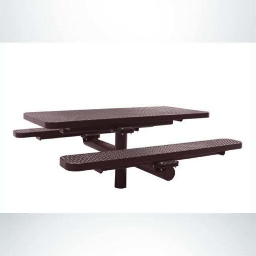 Model #PPS924309O88C. Champion picnic table. 6 foot, brown, expanded metal, single pedestal, direct bury.