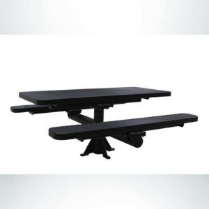Model #PPS924309O99C. Champion Picnic Table. 6 Foot, Black, Expanded Metal, Single Pedestal Surface Mount.