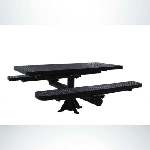 Model #PPS924309O99C. Champion picnic table. 6 foot, black, expanded metal, single pedestal, surface mount.