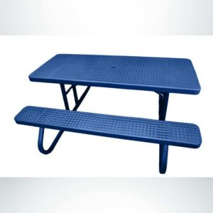 Model #PPS9243P1O22C. Champion Picnic Table. 6 Foot, Blue, Perforated, Free Standing.