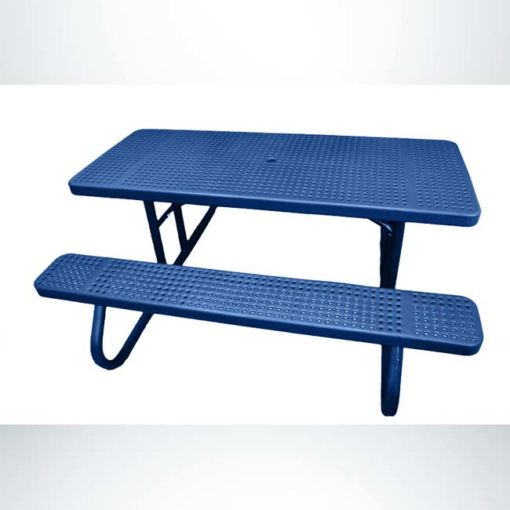 Model #PPS9243P1O22C. Champion picnic table. 6 foot, blue, perforated steel, free standing.