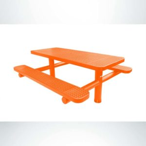 Model #PPS9243P2OAA. Champion Picnic Table. 6 Foot, Orange, Perforated, Double Pedestal Direct Bury.