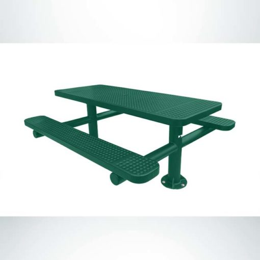 Model #PPS9243P7O33. Champion picnic table. 6 foot, hunter green, perforated steel, double pedestal, surface mount.