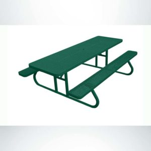 Model #PPS924501O33C. Champion Picnic Table. 8 Foot, Hunter Green, Expanded Metal, Free Standing.