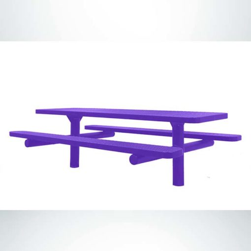 Model #PPS924502OPPCA. Champion picnic table. 8 foot, purple, perforated steel, double pedestal, direct bury.