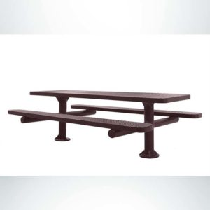 Model #PPS924507O88C. Champion Picnic Table. 8 Foot, Brown, Perforated, Double Pedestal, Surface Mount.