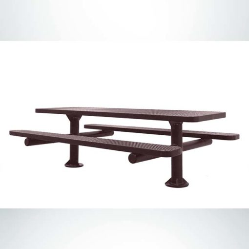 Model #PPS924507O88C. Champion picnic table, 8 foot, brown, perforated steel, double pedestal, surface mount.
