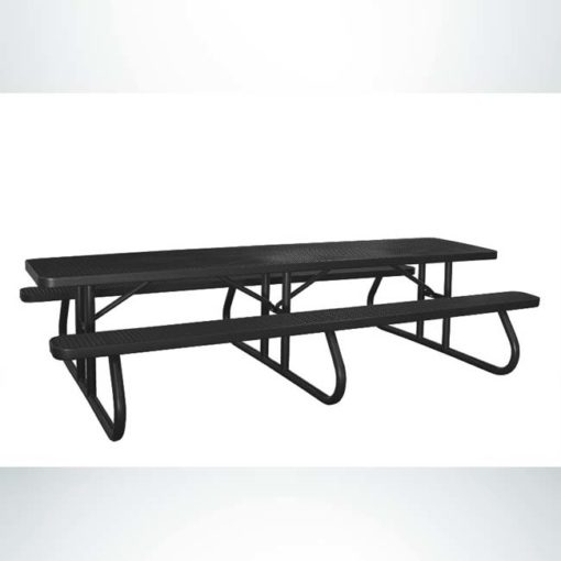 Model # PPS924601O99C. Champion picnic table. 10 foot, black, perforated steel, free standing.