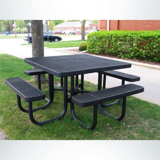 Model # PPS926101O99A. Champion square picnic table. 4 foot, black, expanded metal, free standing.