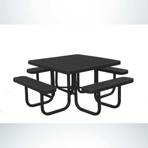 Model # PPS926101O99C. Champion square picnic table. 4 foot, black, expanded metal, free standing.