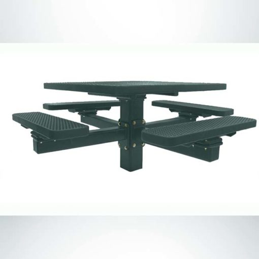Model #PPS926108O66C. Champion square picnic table. 4 foot, evergreen, expanded metal, single pedestal direct bury.
