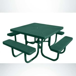 Model #PPS9261P1O33C. Champion four Seat Square Picnic Table. 4 Foot, Hunter Green, Perforated, Free Standing.