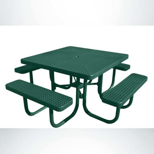 Model #PPS9261P1O33C. Champion four seat square picnic table. 4 foot, hunter green, perforated steel, free standing.