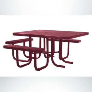 Model #PPS927101O00C. Champion Wheelchair Accessible Square Picnic Table. Burgundy, Expanded Metal, Free Standing.