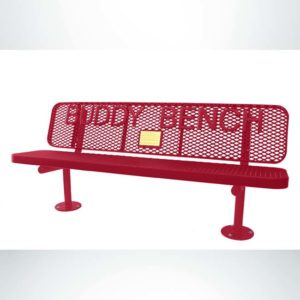 Model #PPS9363MB7O11. Champion Supreme memorial buddy bench. 6 foot, red, expanded metal, surface mount.