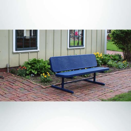 Model #PPS936P1. Champion park bench with backrest. 4 foot, blue, perforated, free standing.