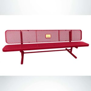 Model #PPS9365M1O11C. Champion Supreme Memorial Bench. 6 Foot, Red, Expanded Metal, Free Standing.